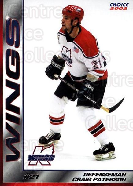 2001-02 Kalamazoo Wings #13 Craig Paterson<br/>1 In Stock - $3.00 each - <a href=https://centericecollectibles.foxycart.com/cart?name=2001-02%20Kalamazoo%20Wings%20%2313%20Craig%20Paterson...&quantity_max=1&price=$3.00&code=696552 class=foxycart> Buy it now! </a>