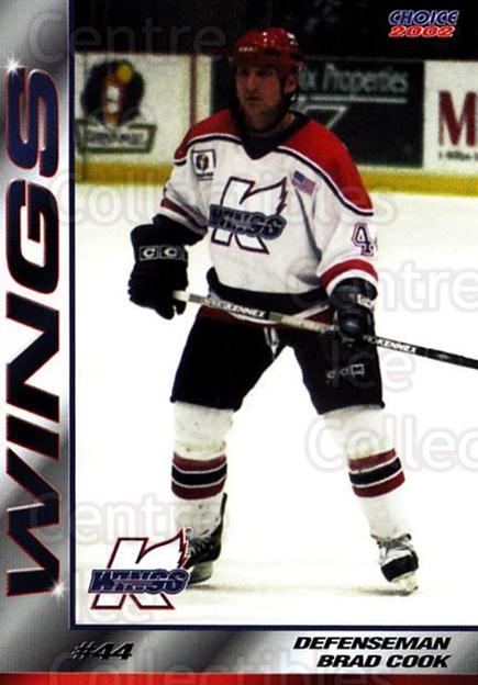 2001-02 Kalamazoo Wings #19 Brad Cook<br/>2 In Stock - $3.00 each - <a href=https://centericecollectibles.foxycart.com/cart?name=2001-02%20Kalamazoo%20Wings%20%2319%20Brad%20Cook...&quantity_max=2&price=$3.00&code=696558 class=foxycart> Buy it now! </a>