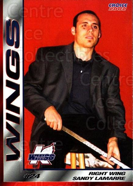2001-02 Kalamazoo Wings #20 Sandy Lamarre<br/>1 In Stock - $3.00 each - <a href=https://centericecollectibles.foxycart.com/cart?name=2001-02%20Kalamazoo%20Wings%20%2320%20Sandy%20Lamarre...&quantity_max=1&price=$3.00&code=696559 class=foxycart> Buy it now! </a>