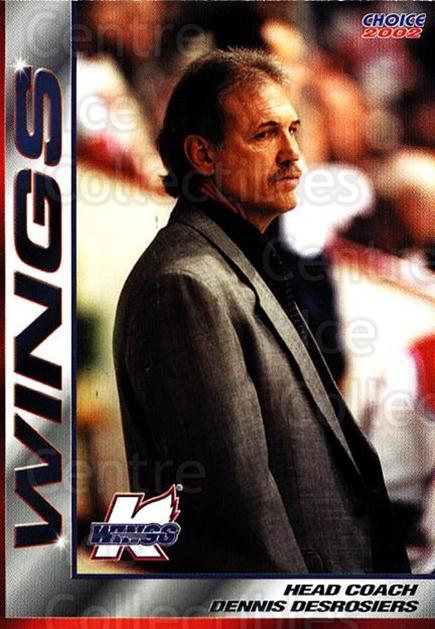 2001-02 Kalamazoo Wings #22 Dennis Desrosiers<br/>1 In Stock - $3.00 each - <a href=https://centericecollectibles.foxycart.com/cart?name=2001-02%20Kalamazoo%20Wings%20%2322%20Dennis%20Desrosie...&quantity_max=1&price=$3.00&code=696561 class=foxycart> Buy it now! </a>