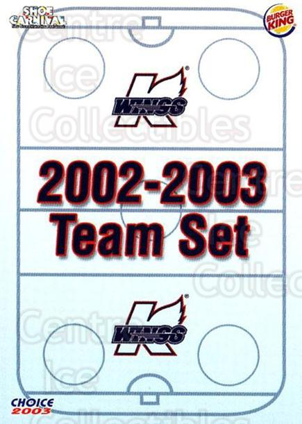 2002-03 Kalamazoo Wings #1 Kalamazoo Wings, Checklist<br/>1 In Stock - $3.00 each - <a href=https://centericecollectibles.foxycart.com/cart?name=2002-03%20Kalamazoo%20Wings%20%231%20Kalamazoo%20Wings...&quantity_max=1&price=$3.00&code=696565 class=foxycart> Buy it now! </a>