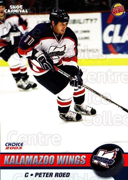 2002-03 Kalamazoo Wings #9 Peter Roed<br/>1 In Stock - $3.00 each - <a href=https://centericecollectibles.foxycart.com/cart?name=2002-03%20Kalamazoo%20Wings%20%239%20Peter%20Roed...&quantity_max=1&price=$3.00&code=696573 class=foxycart> Buy it now! </a>
