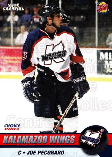2002-03 Kalamazoo Wings #10 Joe Pecoraro<br/>1 In Stock - $3.00 each - <a href=https://centericecollectibles.foxycart.com/cart?name=2002-03%20Kalamazoo%20Wings%20%2310%20Joe%20Pecoraro...&quantity_max=1&price=$3.00&code=696574 class=foxycart> Buy it now! </a>