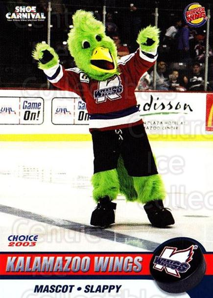 2002-03 Kalamazoo Wings #27 Mascot<br/>3 In Stock - $3.00 each - <a href=https://centericecollectibles.foxycart.com/cart?name=2002-03%20Kalamazoo%20Wings%20%2327%20Mascot...&quantity_max=3&price=$3.00&code=696591 class=foxycart> Buy it now! </a>
