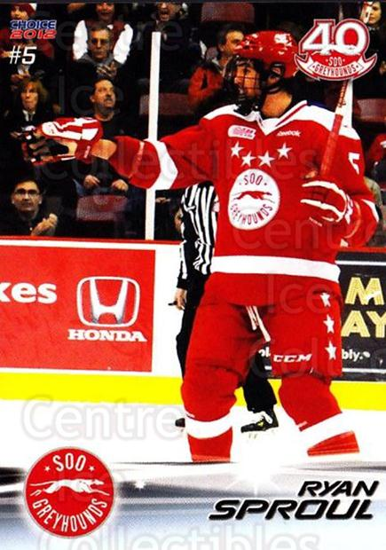 2011-12 Sault Ste. Marie Greyhounds #5 Ryan Sproul<br/>1 In Stock - $3.00 each - <a href=https://centericecollectibles.foxycart.com/cart?name=2011-12%20Sault%20Ste.%20Marie%20Greyhounds%20%235%20Ryan%20Sproul...&quantity_max=1&price=$3.00&code=696596 class=foxycart> Buy it now! </a>