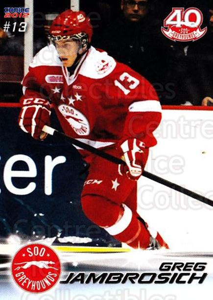 2011-12 Sault Ste. Marie Greyhounds #11 Gregory Jambrosich<br/>1 In Stock - $3.00 each - <a href=https://centericecollectibles.foxycart.com/cart?name=2011-12%20Sault%20Ste.%20Marie%20Greyhounds%20%2311%20Gregory%20Jambros...&quantity_max=1&price=$3.00&code=696602 class=foxycart> Buy it now! </a>