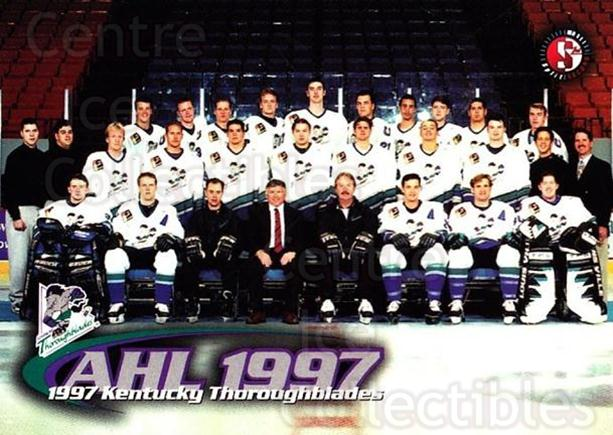 1997-98 Kentucky Thoroughblades #1 Kentucky Thoroughblades, Team Photo<br/>1 In Stock - $3.00 each - <a href=https://centericecollectibles.foxycart.com/cart?name=1997-98%20Kentucky%20Thoroughblades%20%231%20Kentucky%20Thorou...&price=$3.00&code=696618 class=foxycart> Buy it now! </a>