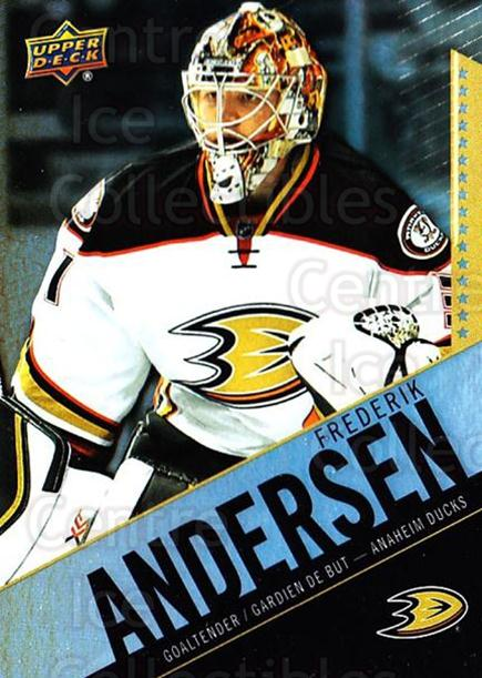2015-16 Tim Hortons #60 Frederik Andersen<br/>11 In Stock - $1.00 each - <a href=https://centericecollectibles.foxycart.com/cart?name=2015-16%20Tim%20Hortons%20%2360%20Frederik%20Anders...&quantity_max=11&price=$1.00&code=696748 class=foxycart> Buy it now! </a>