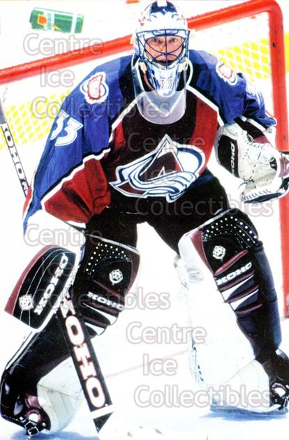 1998-99 Panini Photocards #71 Patrick Roy<br/>2 In Stock - $5.00 each - <a href=https://centericecollectibles.foxycart.com/cart?name=1998-99%20Panini%20Photocards%20%2371%20Patrick%20Roy...&quantity_max=2&price=$5.00&code=69706 class=foxycart> Buy it now! </a>