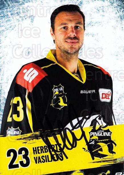 2016-17 German Krefeld Penguins Postcards #8 Herberts Vasiljevs<br/>1 In Stock - $3.00 each - <a href=https://centericecollectibles.foxycart.com/cart?name=2016-17%20German%20Krefeld%20Penguins%20Postcards%20%238%20Herberts%20Vasilj...&quantity_max=1&price=$3.00&code=697167 class=foxycart> Buy it now! </a>