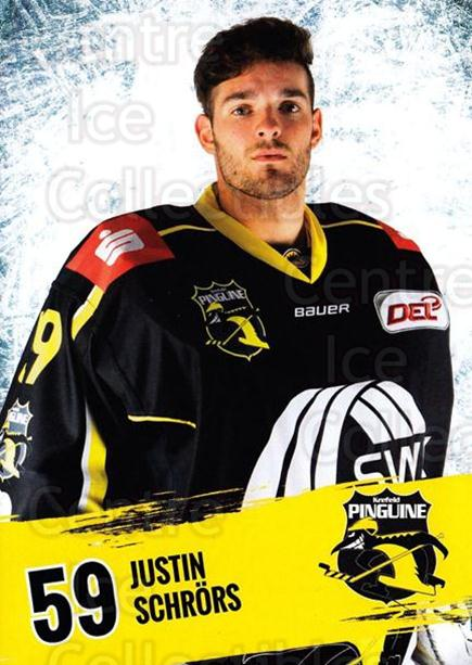 2016-17 German Krefeld Penguins Postcards #19 Justin Schrors<br/>2 In Stock - $3.00 each - <a href=https://centericecollectibles.foxycart.com/cart?name=2016-17%20German%20Krefeld%20Penguins%20Postcards%20%2319%20Justin%20Schrors...&quantity_max=2&price=$3.00&code=697178 class=foxycart> Buy it now! </a>