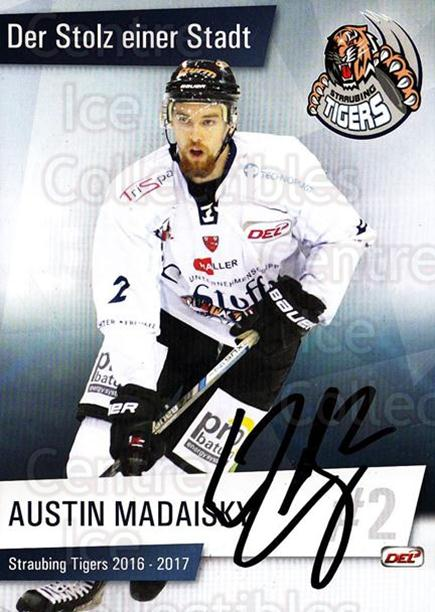 2016-17 German Straubing Tigers Postcards #1 Austin Madaisky<br/>1 In Stock - $3.00 each - <a href=https://centericecollectibles.foxycart.com/cart?name=2016-17%20German%20Straubing%20Tigers%20Postcards%20%231%20Austin%20Madaisky...&quantity_max=1&price=$3.00&code=697247 class=foxycart> Buy it now! </a>