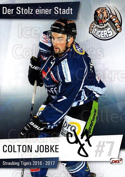 2016-17 German Straubing Tigers Postcards #3 Colton Jobke<br/>1 In Stock - $3.00 each - <a href=https://centericecollectibles.foxycart.com/cart?name=2016-17%20German%20Straubing%20Tigers%20Postcards%20%233%20Colton%20Jobke...&quantity_max=1&price=$3.00&code=697249 class=foxycart> Buy it now! </a>