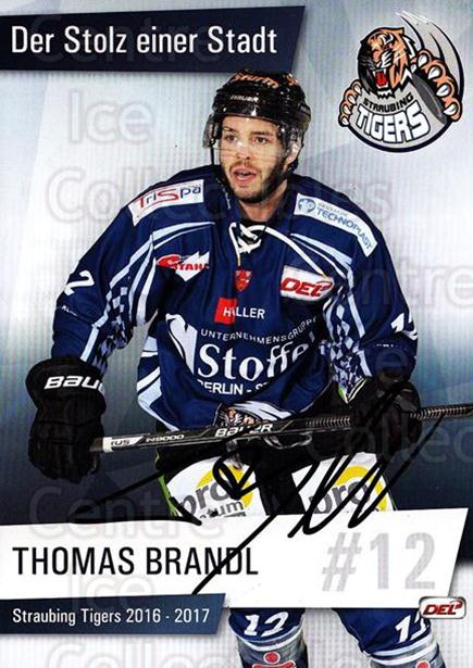 2016-17 German Straubing Tigers Postcards #5 Thomas Brandl<br/>1 In Stock - $3.00 each - <a href=https://centericecollectibles.foxycart.com/cart?name=2016-17%20German%20Straubing%20Tigers%20Postcards%20%235%20Thomas%20Brandl...&quantity_max=1&price=$3.00&code=697251 class=foxycart> Buy it now! </a>