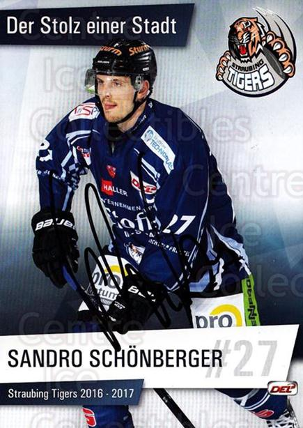 2016-17 German Straubing Tigers Postcards #16 Sandro Schonberger<br/>1 In Stock - $3.00 each - <a href=https://centericecollectibles.foxycart.com/cart?name=2016-17%20German%20Straubing%20Tigers%20Postcards%20%2316%20Sandro%20Schonber...&quantity_max=1&price=$3.00&code=697262 class=foxycart> Buy it now! </a>