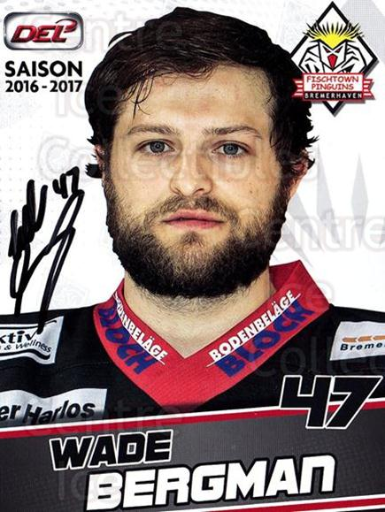 2016-17 German Fischtown Penguins Postcards #12 Wade Bergman<br/>1 In Stock - $3.00 each - <a href=https://centericecollectibles.foxycart.com/cart?name=2016-17%20German%20Fischtown%20Penguins%20Postcards%20%2312%20Wade%20Bergman...&quantity_max=1&price=$3.00&code=697280 class=foxycart> Buy it now! </a>