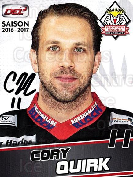2016-17 German Fischtown Penguins Postcards #17 Cory Quirk<br/>1 In Stock - $3.00 each - <a href=https://centericecollectibles.foxycart.com/cart?name=2016-17%20German%20Fischtown%20Penguins%20Postcards%20%2317%20Cory%20Quirk...&quantity_max=1&price=$3.00&code=697285 class=foxycart> Buy it now! </a>