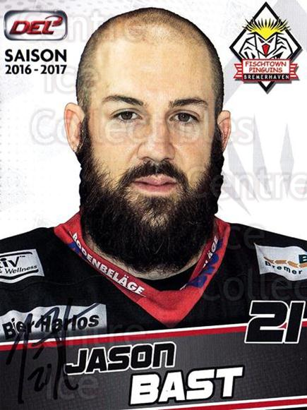 2016-17 German Fischtown Penguins Postcards #19 Jason Bast<br/>1 In Stock - $3.00 each - <a href=https://centericecollectibles.foxycart.com/cart?name=2016-17%20German%20Fischtown%20Penguins%20Postcards%20%2319%20Jason%20Bast...&quantity_max=1&price=$3.00&code=697287 class=foxycart> Buy it now! </a>
