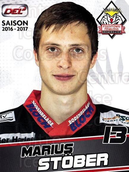 2016-17 German Fischtown Penguins Postcards #25 Marius Stober<br/>1 In Stock - $3.00 each - <a href=https://centericecollectibles.foxycart.com/cart?name=2016-17%20German%20Fischtown%20Penguins%20Postcards%20%2325%20Marius%20Stober...&quantity_max=1&price=$3.00&code=697293 class=foxycart> Buy it now! </a>