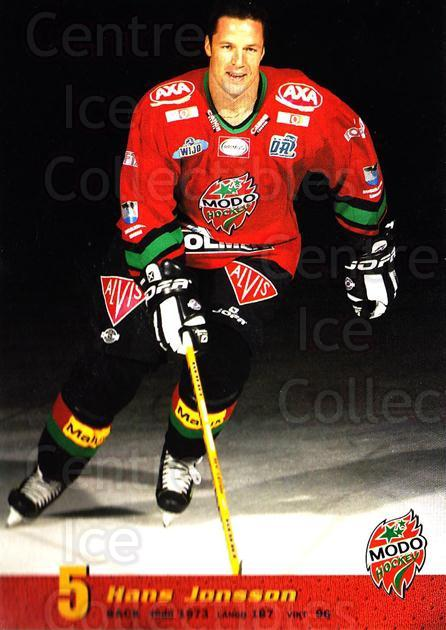 2004-05 Swedish MODO Hockey Postcards #3 Hans Jonsson<br/>2 In Stock - $3.00 each - <a href=https://centericecollectibles.foxycart.com/cart?name=2004-05%20Swedish%20MODO%20Hockey%20Postcards%20%233%20Hans%20Jonsson...&quantity_max=2&price=$3.00&code=697518 class=foxycart> Buy it now! </a>