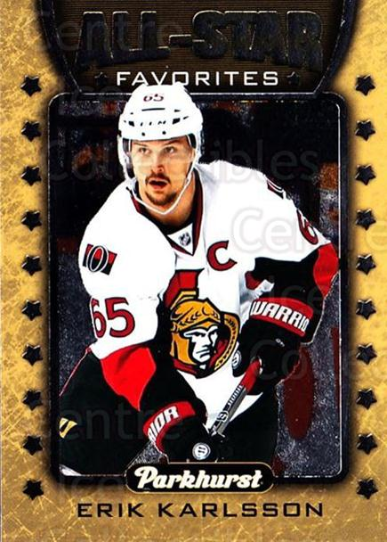 2016-17 Parkhurst All Star Favorites #4 Erik Karlsson<br/>3 In Stock - $3.00 each - <a href=https://centericecollectibles.foxycart.com/cart?name=2016-17%20Parkhurst%20All%20Star%20Favorites%20%234%20Erik%20Karlsson...&quantity_max=3&price=$3.00&code=697940 class=foxycart> Buy it now! </a>