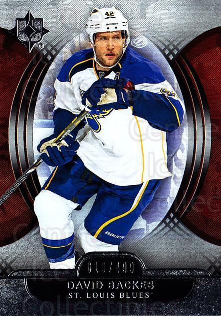 2013-14 UD Ultimate Collection #15 David Backes<br/>1 In Stock - $5.00 each - <a href=https://centericecollectibles.foxycart.com/cart?name=2013-14%20UD%20Ultimate%20Collection%20%2315%20David%20Backes...&quantity_max=1&price=$5.00&code=699129 class=foxycart> Buy it now! </a>