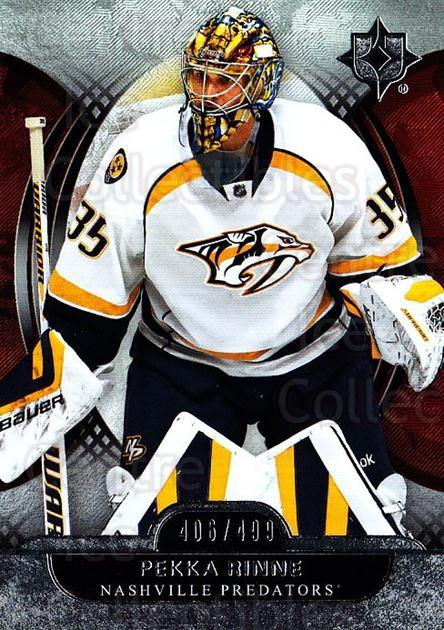 2013-14 UD Ultimate Collection #52 Pekka Rinne<br/>1 In Stock - $5.00 each - <a href=https://centericecollectibles.foxycart.com/cart?name=2013-14%20UD%20Ultimate%20Collection%20%2352%20Pekka%20Rinne...&quantity_max=1&price=$5.00&code=699166 class=foxycart> Buy it now! </a>