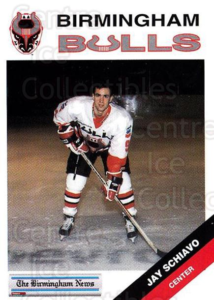 1993-94 Birmingham Bulls #18 Jay Schiavo<br/>1 In Stock - $3.00 each - <a href=https://centericecollectibles.foxycart.com/cart?name=1993-94%20Birmingham%20Bulls%20%2318%20Jay%20Schiavo...&quantity_max=1&price=$3.00&code=699312 class=foxycart> Buy it now! </a>