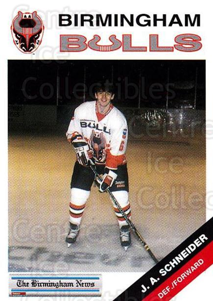 1993-94 Birmingham Bulls #19 Jean-Alain Schneider<br/>1 In Stock - $3.00 each - <a href=https://centericecollectibles.foxycart.com/cart?name=1993-94%20Birmingham%20Bulls%20%2319%20Jean-Alain%20Schn...&quantity_max=1&price=$3.00&code=699313 class=foxycart> Buy it now! </a>