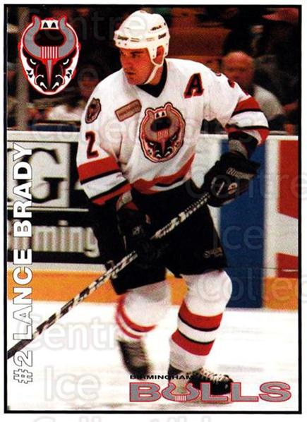 1995-96 Birmingham Bulls #3 Lance Brady<br/>1 In Stock - $3.00 each - <a href=https://centericecollectibles.foxycart.com/cart?name=1995-96%20Birmingham%20Bulls%20%233%20Lance%20Brady...&quantity_max=1&price=$3.00&code=699324 class=foxycart> Buy it now! </a>