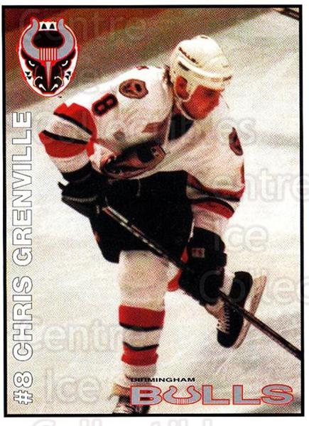 1995-96 Birmingham Bulls #8 Chris Grenville<br/>2 In Stock - $3.00 each - <a href=https://centericecollectibles.foxycart.com/cart?name=1995-96%20Birmingham%20Bulls%20%238%20Chris%20Grenville...&quantity_max=2&price=$3.00&code=699329 class=foxycart> Buy it now! </a>