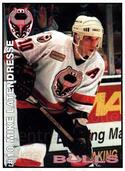 1995-96 Birmingham Bulls #10 Mike Latendresse<br/>2 In Stock - $3.00 each - <a href=https://centericecollectibles.foxycart.com/cart?name=1995-96%20Birmingham%20Bulls%20%2310%20Mike%20Latendress...&quantity_max=2&price=$3.00&code=699331 class=foxycart> Buy it now! </a>