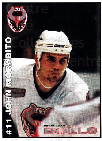 1995-96 Birmingham Bulls #11 John Morabito<br/>2 In Stock - $3.00 each - <a href=https://centericecollectibles.foxycart.com/cart?name=1995-96%20Birmingham%20Bulls%20%2311%20John%20Morabito...&quantity_max=2&price=$3.00&code=699332 class=foxycart> Buy it now! </a>
