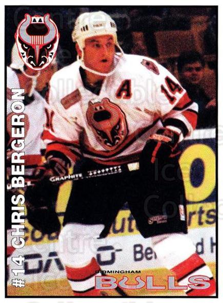 1995-96 Birmingham Bulls #13 Chris Bergeron<br/>1 In Stock - $3.00 each - <a href=https://centericecollectibles.foxycart.com/cart?name=1995-96%20Birmingham%20Bulls%20%2313%20Chris%20Bergeron...&quantity_max=1&price=$3.00&code=699334 class=foxycart> Buy it now! </a>