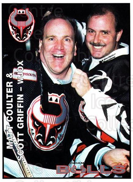 1995-96 Birmingham Bulls #24 Matt Coulter, Scott Griffi<br/>2 In Stock - $3.00 each - <a href=https://centericecollectibles.foxycart.com/cart?name=1995-96%20Birmingham%20Bulls%20%2324%20Matt%20Coulter,%20S...&quantity_max=2&price=$3.00&code=699345 class=foxycart> Buy it now! </a>