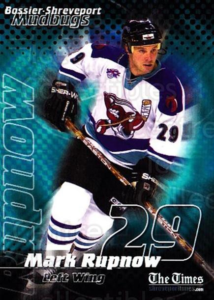 2001-02 Bossier-Shreveport Mudbugs #15 Mark Rupnow<br/>1 In Stock - $3.00 each - <a href=https://centericecollectibles.foxycart.com/cart?name=2001-02%20Bossier-Shreveport%20Mudbugs%20%2315%20Mark%20Rupnow...&price=$3.00&code=699365 class=foxycart> Buy it now! </a>
