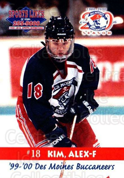 1999-00 Des Moines Buccaneers #14 Alex Kim<br/>1 In Stock - $3.00 each - <a href=https://centericecollectibles.foxycart.com/cart?name=1999-00%20Des%20Moines%20Buccaneers%20%2314%20Alex%20Kim...&price=$3.00&code=699423 class=foxycart> Buy it now! </a>