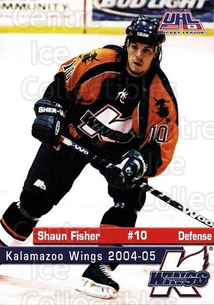 2004-05 Kalamazoo Wings #7 Shaun Fisher<br/>1 In Stock - $3.00 each - <a href=https://centericecollectibles.foxycart.com/cart?name=2004-05%20Kalamazoo%20Wings%20%237%20Shaun%20Fisher...&quantity_max=1&price=$3.00&code=699440 class=foxycart> Buy it now! </a>