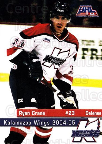 2004-05 Kalamazoo Wings #17 Ryan Crane<br/>1 In Stock - $3.00 each - <a href=https://centericecollectibles.foxycart.com/cart?name=2004-05%20Kalamazoo%20Wings%20%2317%20Ryan%20Crane...&quantity_max=1&price=$3.00&code=699450 class=foxycart> Buy it now! </a>