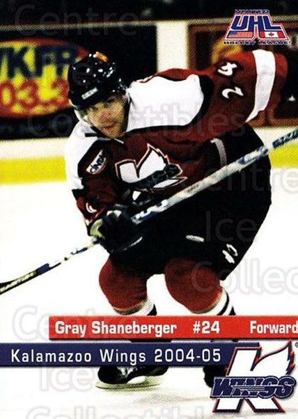 2004-05 Kalamazoo Wings #18 Gray Shaneberger<br/>1 In Stock - $3.00 each - <a href=https://centericecollectibles.foxycart.com/cart?name=2004-05%20Kalamazoo%20Wings%20%2318%20Gray%20Shaneberge...&quantity_max=1&price=$3.00&code=699451 class=foxycart> Buy it now! </a>