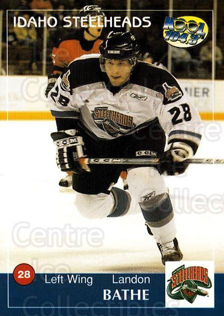 2004-05 Idaho Steelheads #1 Landon Bathe<br/>2 In Stock - $3.00 each - <a href=https://centericecollectibles.foxycart.com/cart?name=2004-05%20Idaho%20Steelheads%20%231%20Landon%20Bathe...&quantity_max=2&price=$3.00&code=699811 class=foxycart> Buy it now! </a>