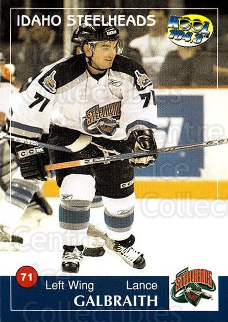 2004-05 Idaho Steelheads #8 Lance Galbraith<br/>2 In Stock - $3.00 each - <a href=https://centericecollectibles.foxycart.com/cart?name=2004-05%20Idaho%20Steelheads%20%238%20Lance%20Galbraith...&quantity_max=2&price=$3.00&code=699818 class=foxycart> Buy it now! </a>