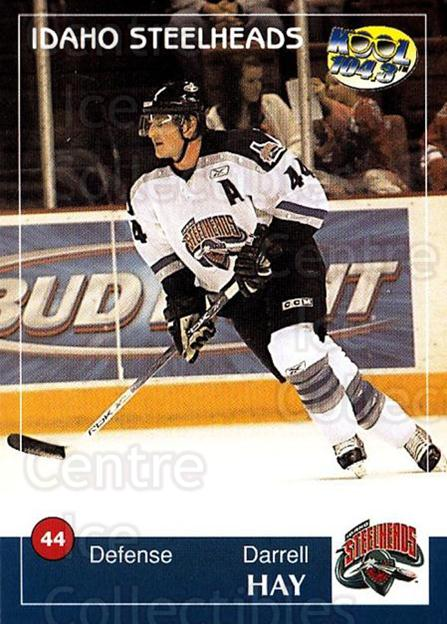 2004-05 Idaho Steelheads #9 Darrell Hay<br/>2 In Stock - $3.00 each - <a href=https://centericecollectibles.foxycart.com/cart?name=2004-05%20Idaho%20Steelheads%20%239%20Darrell%20Hay...&quantity_max=2&price=$3.00&code=699819 class=foxycart> Buy it now! </a>