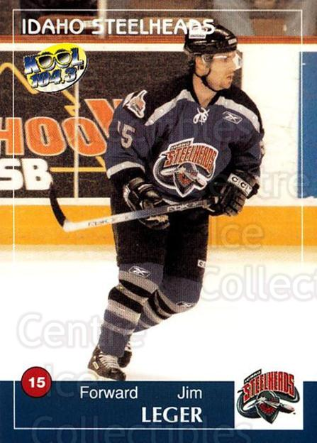 2004-05 Idaho Steelheads #11 Jim Leger<br/>1 In Stock - $3.00 each - <a href=https://centericecollectibles.foxycart.com/cart?name=2004-05%20Idaho%20Steelheads%20%2311%20Jim%20Leger...&quantity_max=1&price=$3.00&code=699821 class=foxycart> Buy it now! </a>