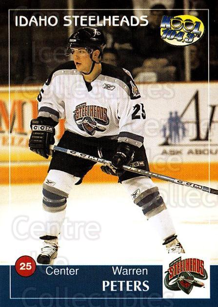 2004-05 Idaho Steelheads #17 Warren Peters<br/>2 In Stock - $3.00 each - <a href=https://centericecollectibles.foxycart.com/cart?name=2004-05%20Idaho%20Steelheads%20%2317%20Warren%20Peters...&quantity_max=2&price=$3.00&code=699827 class=foxycart> Buy it now! </a>