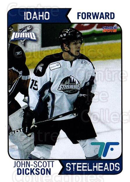 2013-14 Idaho Steelheads Playoff #14 John-Scott Dickson<br/>1 In Stock - $3.00 each - <a href=https://centericecollectibles.foxycart.com/cart?name=2013-14%20Idaho%20Steelheads%20Playoff%20%2314%20John-Scott%20Dick...&quantity_max=1&price=$3.00&code=699866 class=foxycart> Buy it now! </a>
