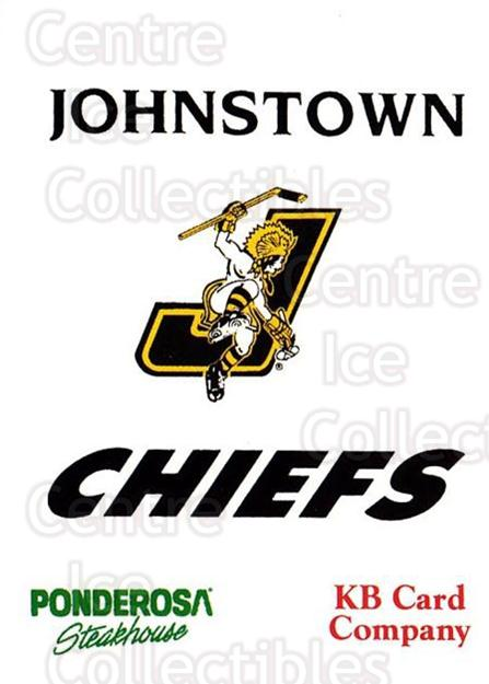1993-94 Johnstown Chiefs #23 Header Card, Checklist<br/>1 In Stock - $3.00 each - <a href=https://centericecollectibles.foxycart.com/cart?name=1993-94%20Johnstown%20Chiefs%20%2323%20Header%20Card,%20Ch...&price=$3.00&code=699971 class=foxycart> Buy it now! </a>