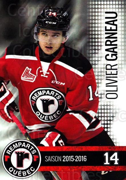 2015-16 Quebec Remparts #3 Olivier Garneau<br/>1 In Stock - $3.00 each - <a href=https://centericecollectibles.foxycart.com/cart?name=2015-16%20Quebec%20Remparts%20%233%20Olivier%20Garneau...&price=$3.00&code=700101 class=foxycart> Buy it now! </a>