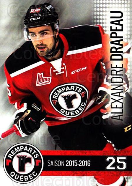 2015-16 Quebec Remparts #12 Alexandre Drapeau<br/>1 In Stock - $3.00 each - <a href=https://centericecollectibles.foxycart.com/cart?name=2015-16%20Quebec%20Remparts%20%2312%20Alexandre%20Drape...&price=$3.00&code=700110 class=foxycart> Buy it now! </a>