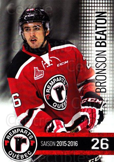 2015-16 Quebec Remparts #13 Bronson Beaton<br/>1 In Stock - $3.00 each - <a href=https://centericecollectibles.foxycart.com/cart?name=2015-16%20Quebec%20Remparts%20%2313%20Bronson%20Beaton...&price=$3.00&code=700111 class=foxycart> Buy it now! </a>